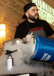 Chef Matt Lepisto using his  secret ingredient of liquid nitrogen