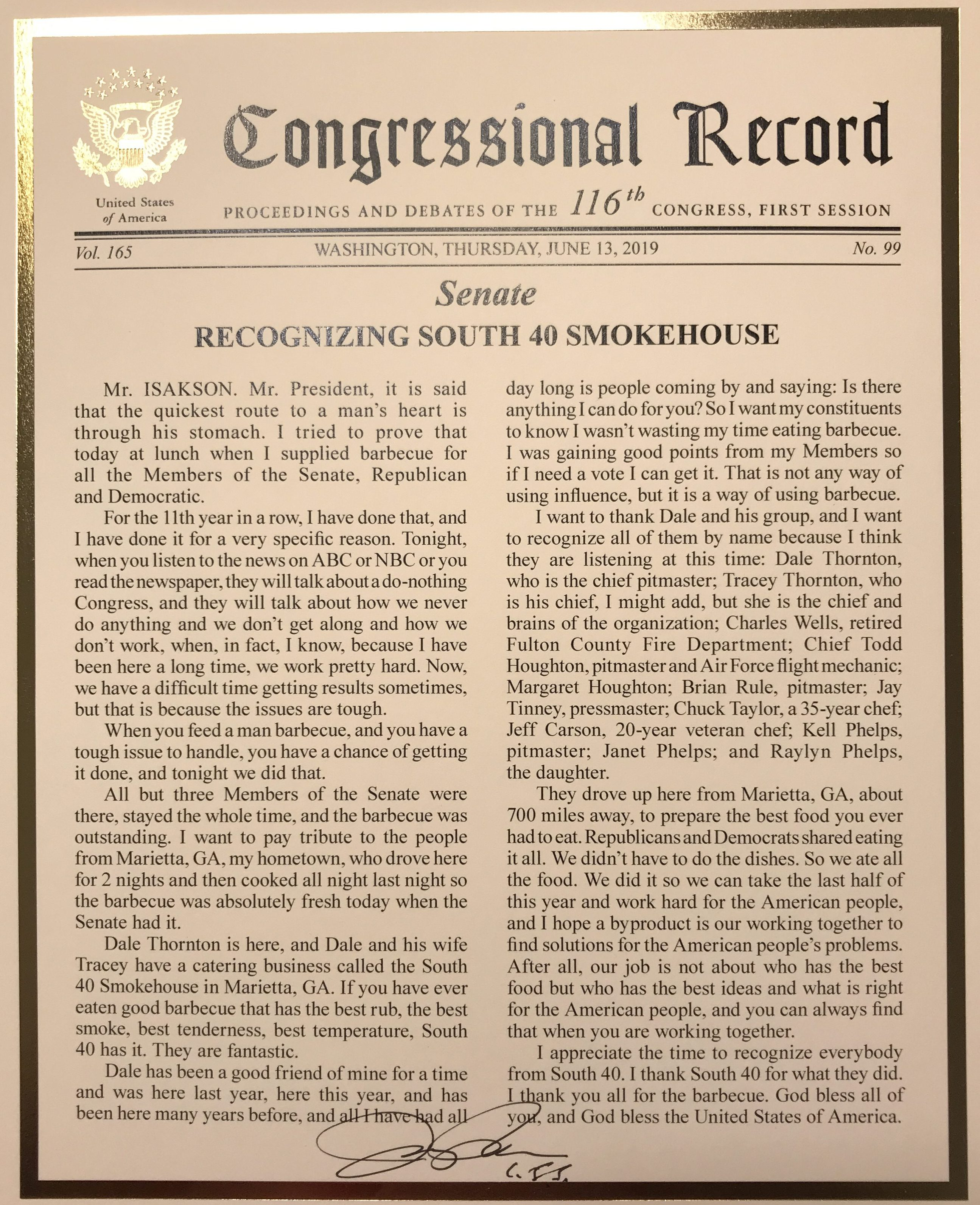 Congressional Record Recognizing South 40 Smokehouse