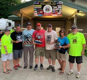 River City Steak Challenge overall top 5 finishers (left to right) – Leona Sallee (organizer), Matt Ouverson (Iowa), Robert Erwin (Louisana), Danny Ewers (Nebraska), Mark Johnson (South Dakota). Sherry Warth (Iowa) and Jim Sallee (organizer)